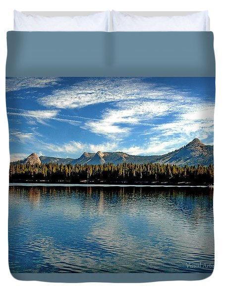 Duvet Cover featuring the digital art Courtright Reservoir by Visual Artist Frank Bonilla