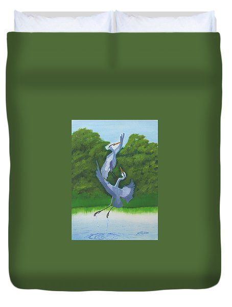 Courtship Dance Duvet Cover