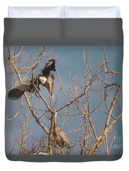 Duvet Cover featuring the photograph Courtship Ritual Of The Great Blue Heron by David Bearden