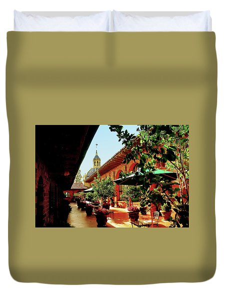 Courtyard At The Inn Duvet Cover