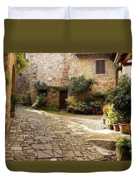 Courtyard In Montefioralle Duvet Cover by Rae Tucker