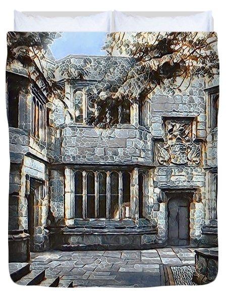 Duvet Cover featuring the digital art Courtyard Of Skipton Castle by Pennie McCracken
