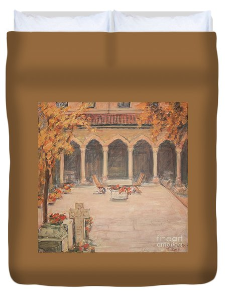 Duvet Cover featuring the painting Courtyard Of Stravopoleos Church by Olimpia - Hinamatsuri Barbu