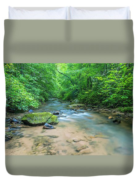Duvet Cover featuring the photograph Cove Creek Panorama by Ranjay Mitra