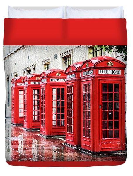 Covent Garden Phone Boxes Duvet Cover