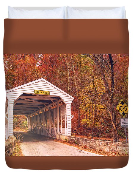 Duvet Cover featuring the photograph Covered Bridge At Valley Forge by Rima Biswas