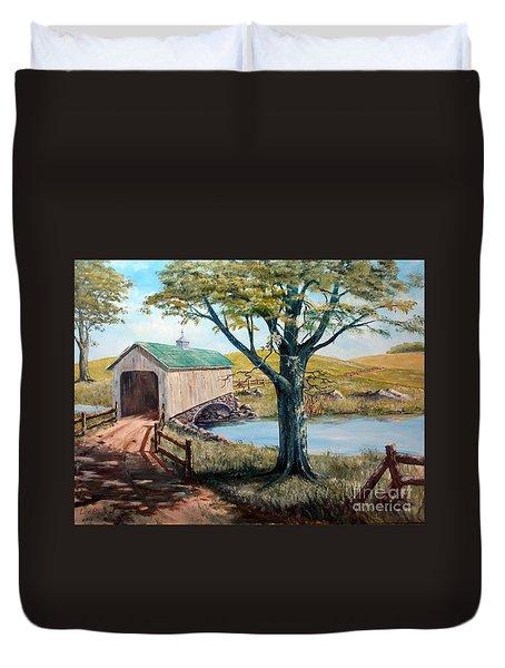 Covered Bridge, Americana, Folk Art Duvet Cover