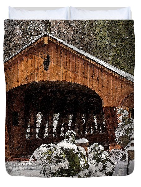 Covered Bridge At Olmsted Falls-winter-2 Duvet Cover