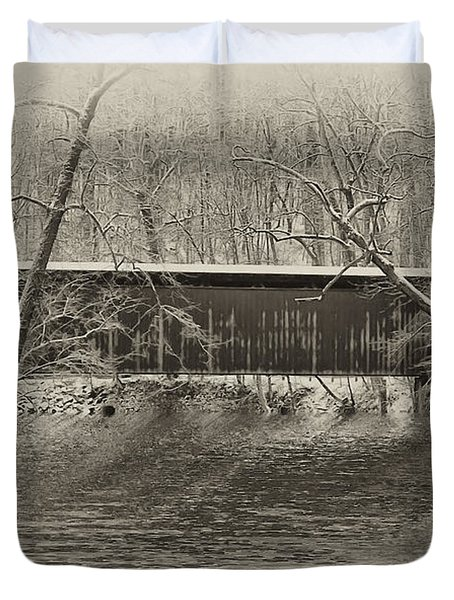 Covered Bridge In Black And White Duvet Cover by Bill Cannon