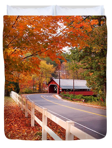 Covered Bridge In Brattleboro Vt Duvet Cover