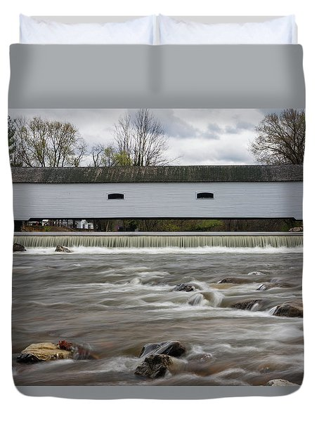 Covered Bridge In March Duvet Cover