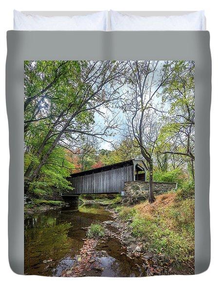 Covered Bridge In Pennsylvania During Autumn Duvet Cover