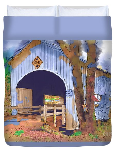 Covered Bridge In Watercolor Duvet Cover