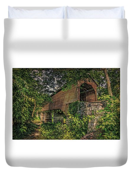 Duvet Cover featuring the photograph Covered Bridge by Lewis Mann