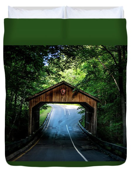 Duvet Cover featuring the photograph Covered Bridge by Onyonet  Photo Studios