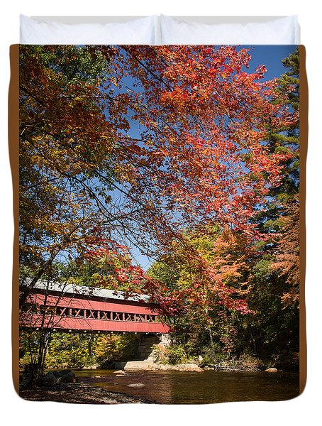 Duvet Cover featuring the photograph Covered Bridge Over The Swift River In Conway by Jeff Folger