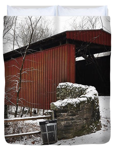 Covered Bridge Over The Wissahickon Creek Duvet Cover by Bill Cannon