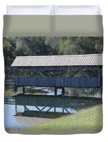 Duvet Cover featuring the photograph Covered Bridge Painting by Debra     Vatalaro