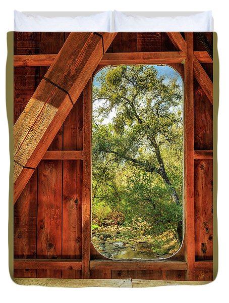 Duvet Cover featuring the photograph Covered Bridge Window by James Eddy