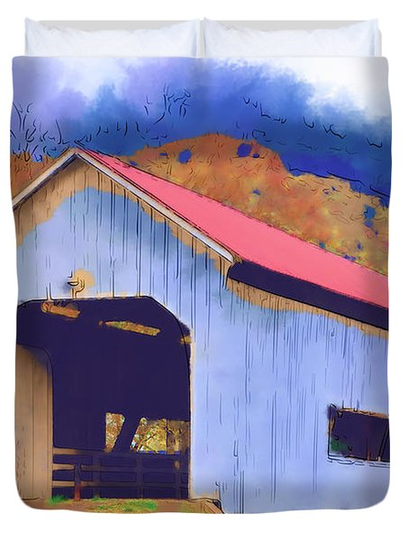 Covered Bridge With Red Roof Duvet Cover