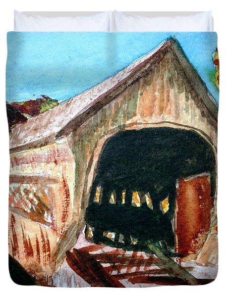 Duvet Cover featuring the painting Covered Bridge Woodstock Vt by Donna Walsh