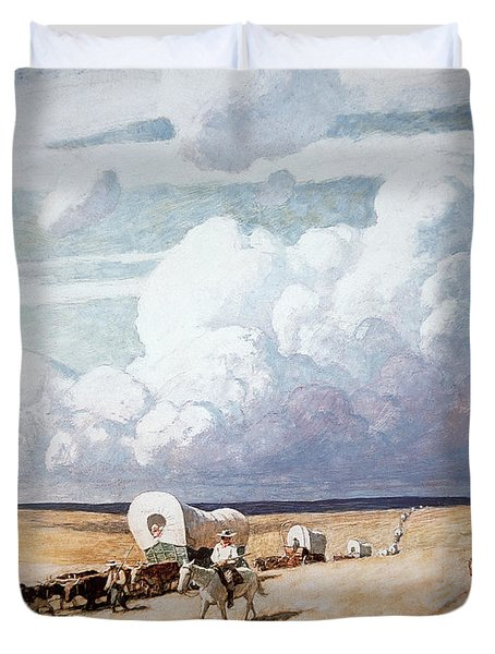 Covered Wagons Heading West Duvet Cover by Newell Convers Wyeth