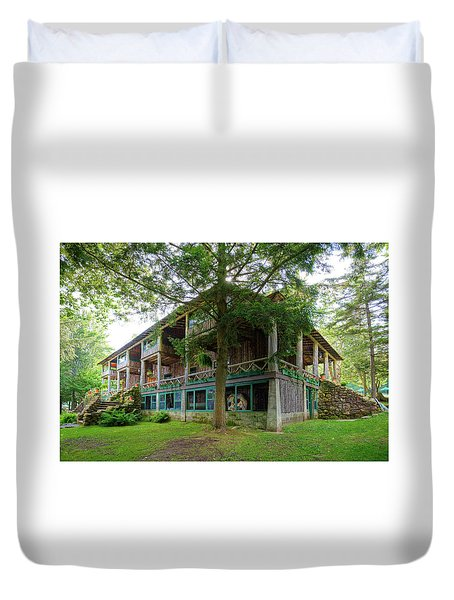 Duvet Cover featuring the photograph Covewood Lodge On Big Moose Lake by David Patterson