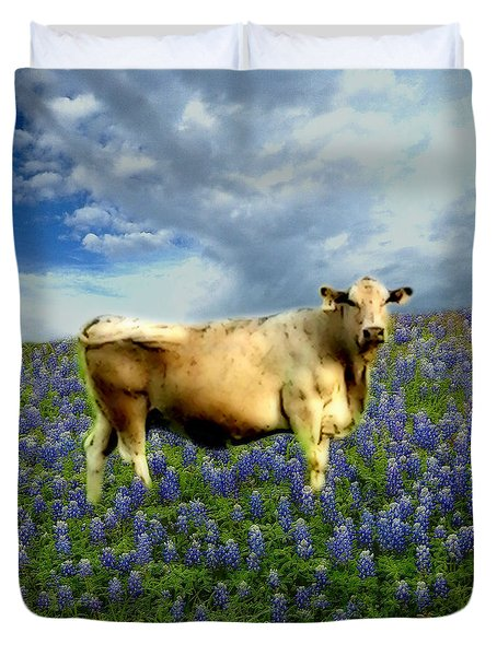 Duvet Cover featuring the photograph Cow And Bluebonnets by Barbara Tristan