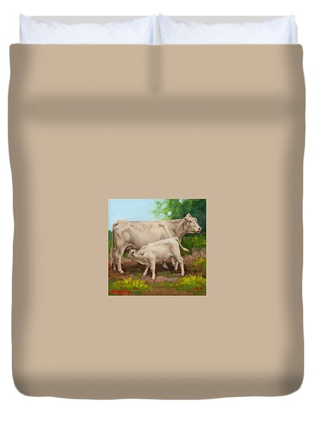 Cow  And Calf In Miniature  Duvet Cover