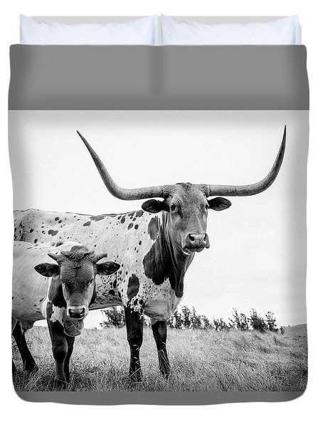 Cow And Calf In The Pasture Duvet Cover