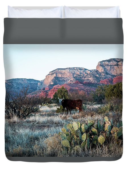 Cow At Red Rock Duvet Cover