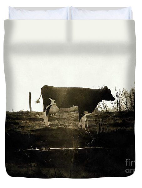Cow - Black And White - Profile Duvet Cover