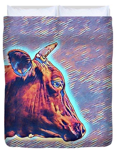 Cow Contemplation Duvet Cover