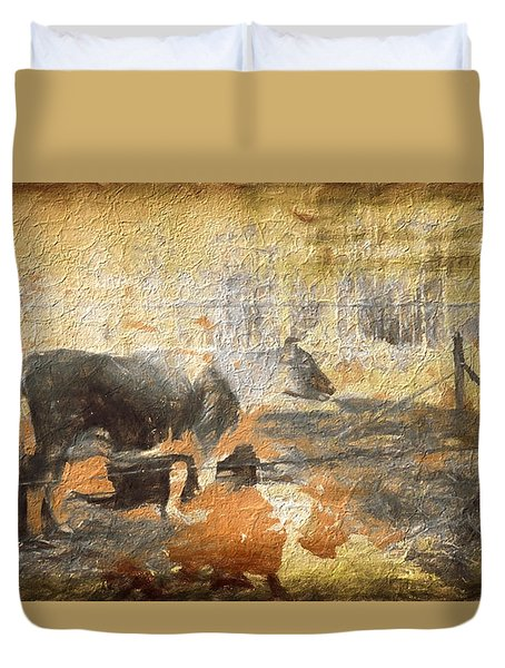 Cow In Abstract Duvet Cover by Cathy Anderson