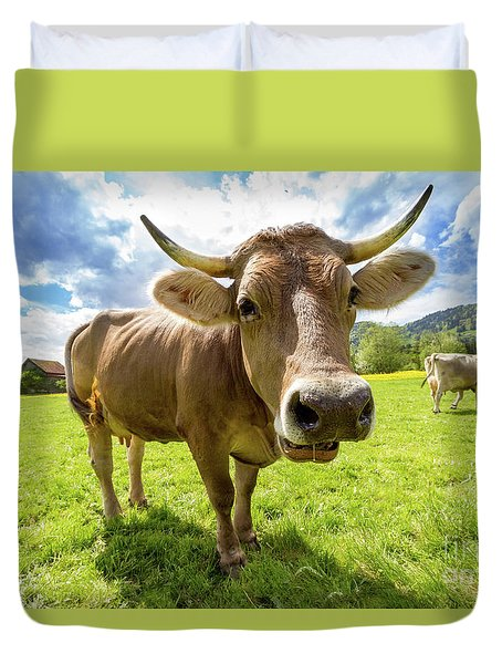 Duvet Cover featuring the photograph Cow In Meadow by MGL Meiklejohn Graphics Licensing