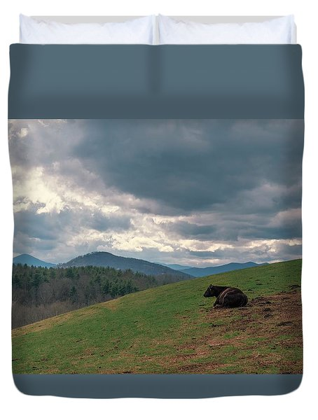 Cow In Pasture Duvet Cover