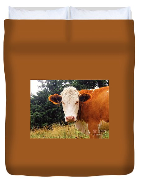 Duvet Cover featuring the photograph Cow In Pasture by MGL Meiklejohn Graphics Licensing
