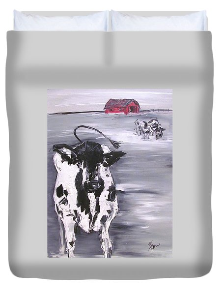 Cow In Winter Duvet Cover