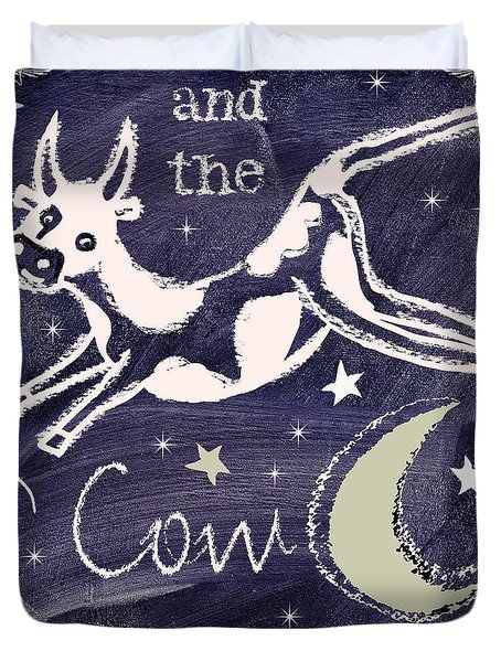Cow Jumped Over The Moon Chalkboard Art Duvet Cover by Mindy Sommers