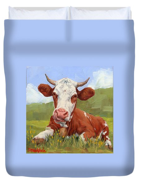 Cow Lick Mini Painting  Duvet Cover