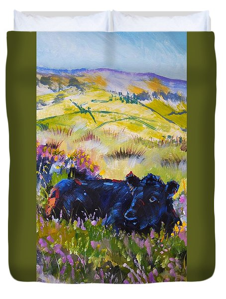 Cow Lying Down Among Plants Duvet Cover
