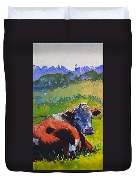 Cow Lying Down On A Sunny Day Duvet Cover