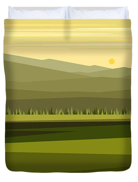 Cow Pass Spring Green Duvet Cover