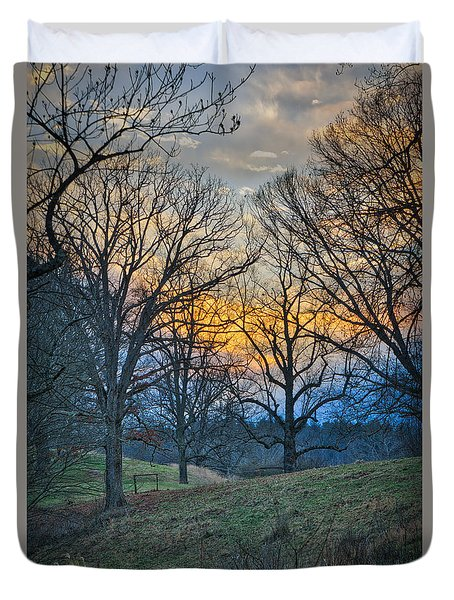 Cow Pasture At Dusk Duvet Cover