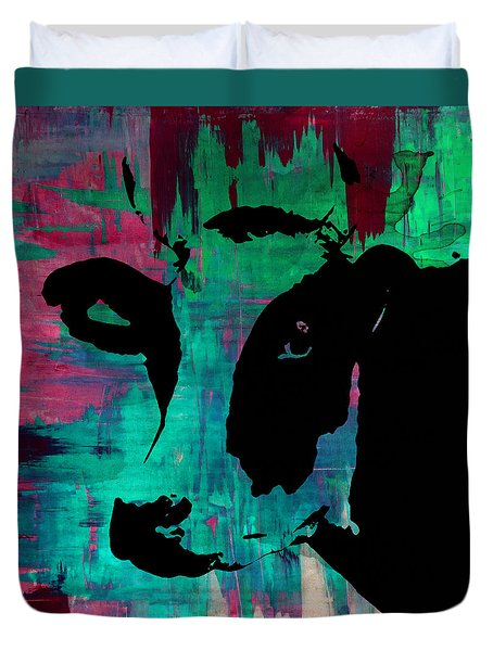 Cow Sunset Rainbow - Poster Print Duvet Cover