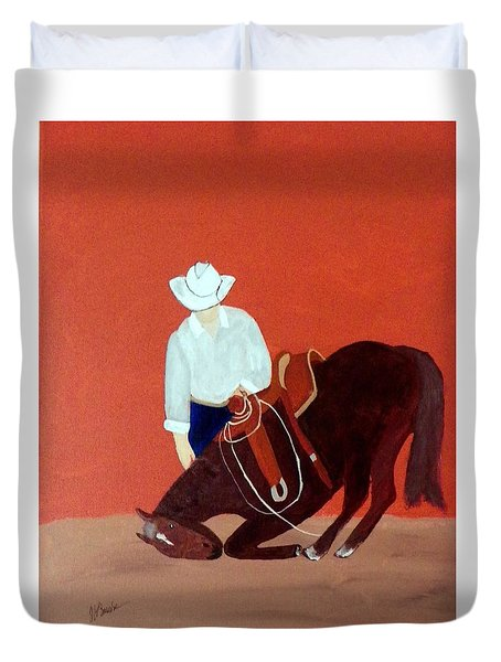 Cowboy And His Horse Duvet Cover