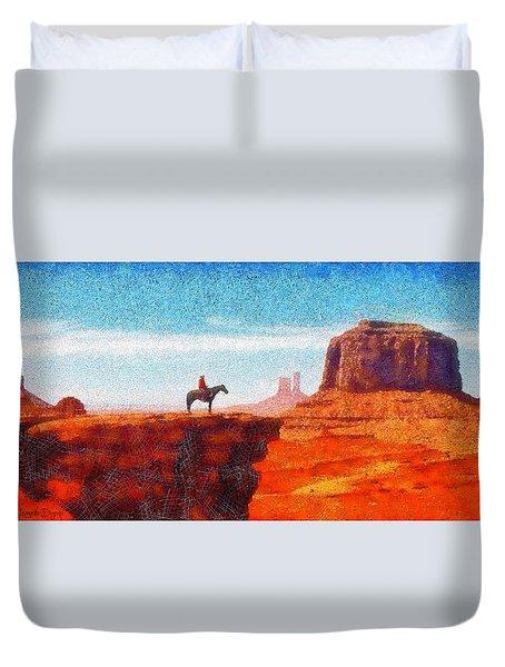 Cowboy At Monument Valley In Utah - Pa Duvet Cover