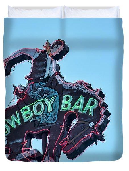 Cowboy Bar Vintage Neon Sign Photograph Western Wall Art Duvet Cover