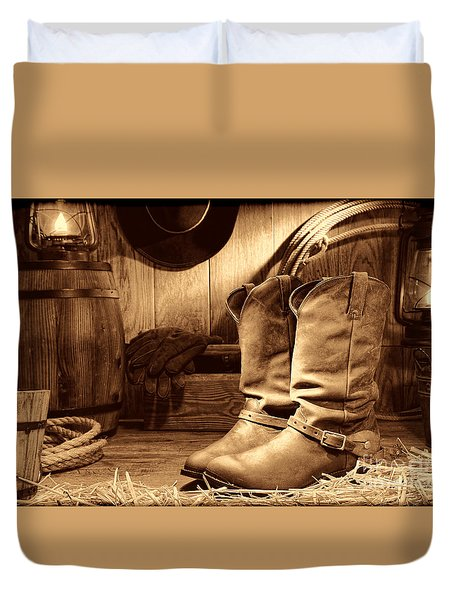 Cowboy Boots In A Ranch Barn Duvet Cover