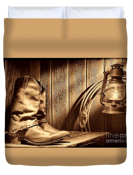 Cowboy Boots In Old Barn Duvet Cover
